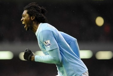 Adebayor, attaccante Manchester City (Foto Ansa)