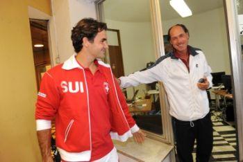 Barazzutti con Federer (Foto Ansa)