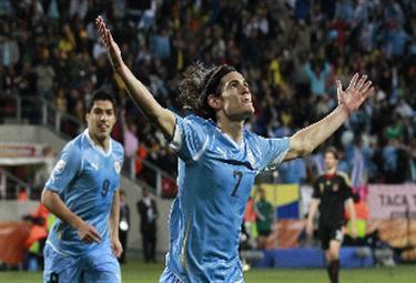 Cavani con la maglia dell'Uruguay (Foto Ansa)