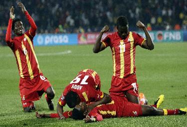 Giocatori del Ghana festeggiano (Foto Ansa)