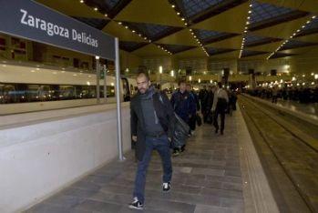 Guardiola alla stazione di Saragozza (Foto Ansa)