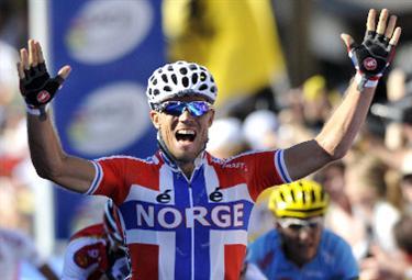 Hushovd vincitore del Mondiale (Foto Ansa)