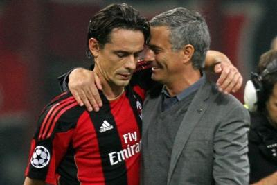 Inzaghi con Mourinho (Foto Ansa)