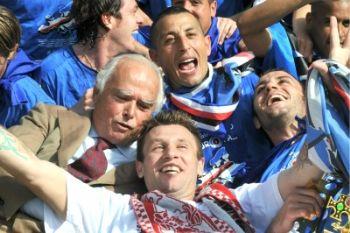 Pazzini (a dx) con Palombo, Cassano e Garrone (Foto Ansa)