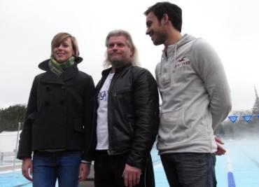 Pellegrini con Lucas e Marin (Foto Ansa)