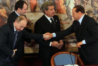 V. Putin, A. Miller, F. Conti e S. Berlusconi (Ansa)