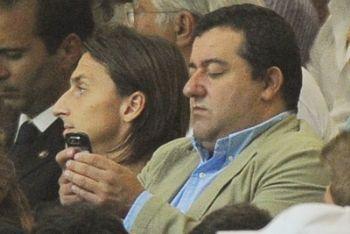 Raiola con Ibrahimovic (Foto Ansa)