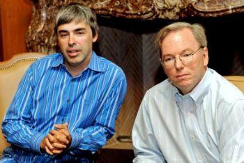 Da sinistra: Larry Page ed Eric Schmidt (Foto Ansa)
