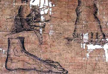 Un particolare del papiro di Artemidoro (Foto Ansa)
