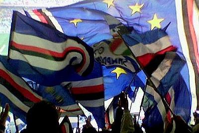Le bandiere blucerchiate (Foto: ANSA)