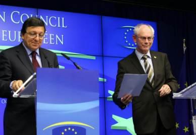 José Manuel Barroso e Herman Van Rompuy (Foto Ansa)