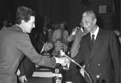 Enrico Berlinguer e Aldo Moro (Foto Ansa)