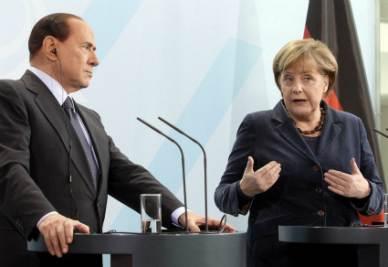Silvio Berlusconi e Angela Merkel (Ansa)