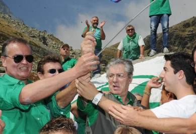 La Lega Nord al raduno di Venezia (Ansa)