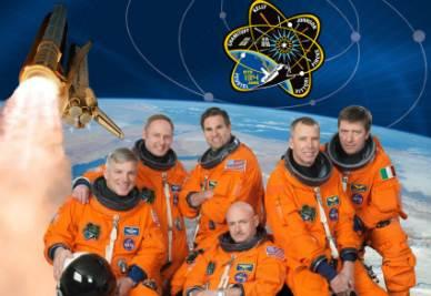 L'equipaggio della missione STS-134 (Foto Ansa)