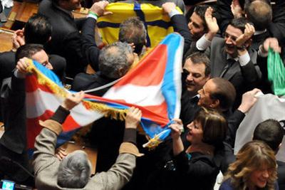 L'approvazione del federalismo fiscale in Parlamento, foto Ansa