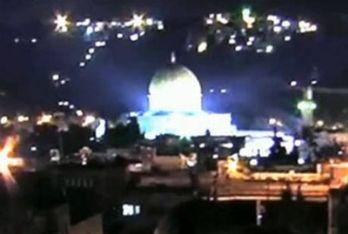 Un'immagine della luce misteriosa su Gerusalemme, foto Ansa