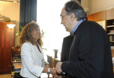 Emma Marcegaglia e Sergio Marchionne (Foto Ansa)