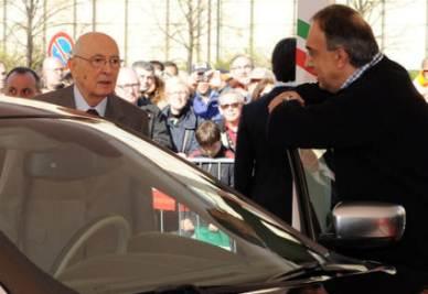 Marchionne presenta a Napolitano la nuova Lancia Thema (Foto Ansa)