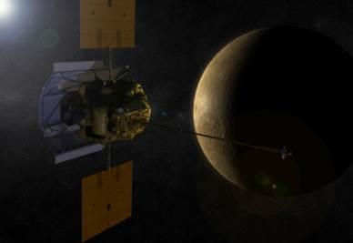 Una rappresentazione artistica della sonda Messenger nell'orbita di Mercurio (Credit: Nasa)