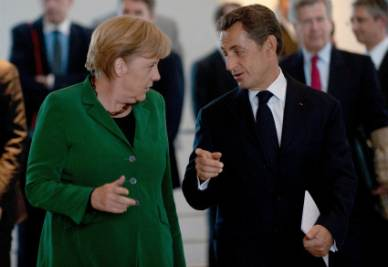 Angela Merkel e Nicolas Sarkozy (Foto Ansa)