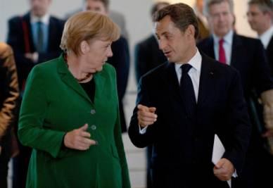 Angela Merkel e Nicola Sarkozy (Foto Ansa)