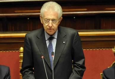 Mario Monti al Senato (Ansa)