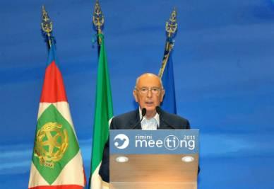 Giorgio Napolitano al Meeting di Rimini (Foto Ansa)
