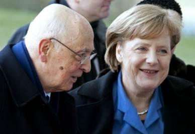 Giorgio Napolitano e Angela Merkel (Foto Ansa)