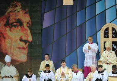 La beatificazione di Newman avvenuto lo scorso 19 settembre (Foto Ansa)