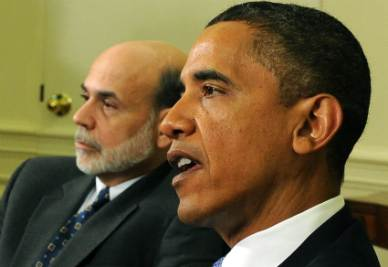 Barack Obama e Ben Bernanke (Foto Ansa)
