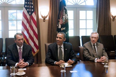 House Majority Leader John Boehner, President Obama, and Senate Majority Leader Harry Reid partcipate in the debt negotiations