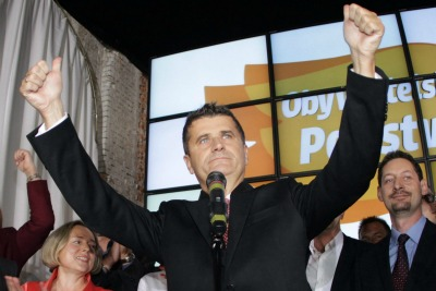 Janusz Palikot celebrates the election results   (photo ANSA)