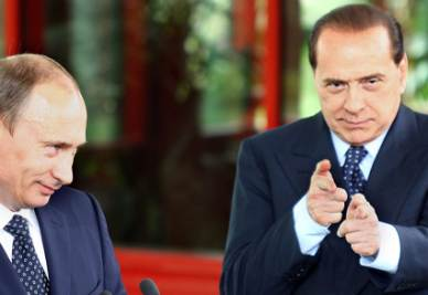 Vladimir Putin e Silvio Berlusconi (Foto Ansa)