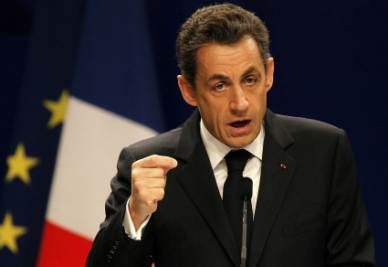 Nicolas Sarkozy durante il seminario di Nanchino (Foto Ansa)