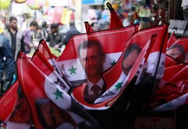 Bandiere pro-Assad in Siria (Ansa)