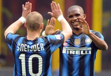 Sneijder ed Eto'o, protagonisti della partita di oggi contro la Lazio (Foto Ansa)