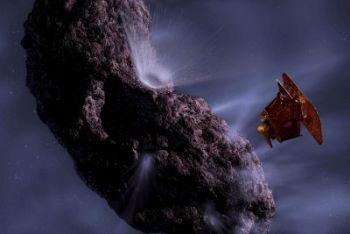 Una ricostruzione dell'incontro tra la cometa Temple-1 e la sonda Deep Impact (Foto Ansa)
