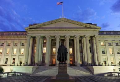 La sede del Dipartimento del Tesoro di Washington (Foto Ansa)