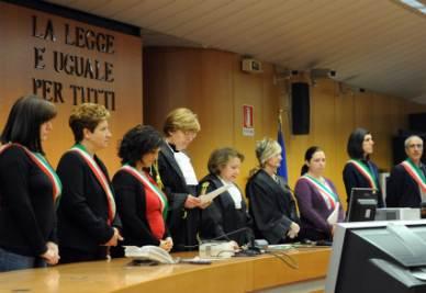 Il momento della lettura della sentenza del processo Thyssen (Foto Ansa)