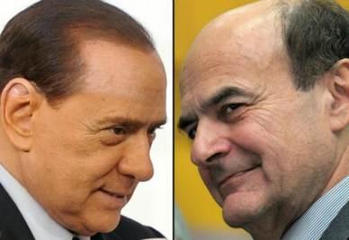 Silvio Berlusconi e Pierluigi Bersani (Ansa)