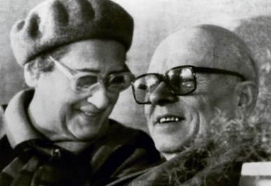 Elena Bonner e Andrej Sacharov partono da Mosca per New York, 6 nov. 1988 (Ansa)