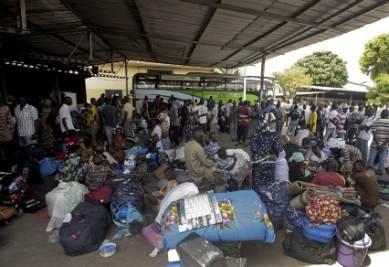 Profughi della Costa d'Avorio, foto Ansa