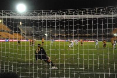 Il gol di Denis su rigore, foto Ansa