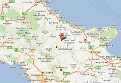 La zona del terremoto in Campobasso