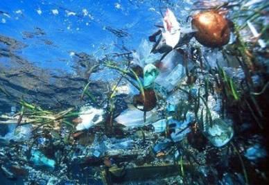 Una delle cinque isole di spazzatura nell'oceano
