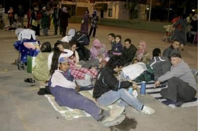 Gli sfollati a Lorca questa notte, foto Ansa