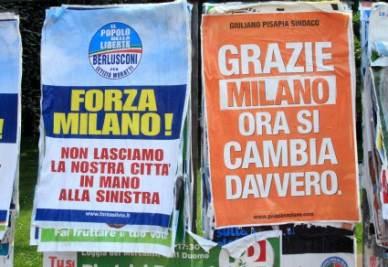 I manifesti dei candidati sindaco di Milano (Foto: ANSA)