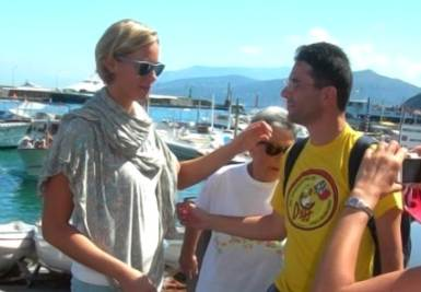 Luca Marin con Federica Pellegrini, foto Ansa