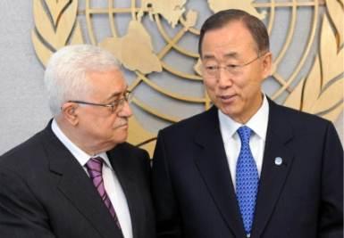 Abu Mazen insieme a Ban Ki-moon (Ansa)